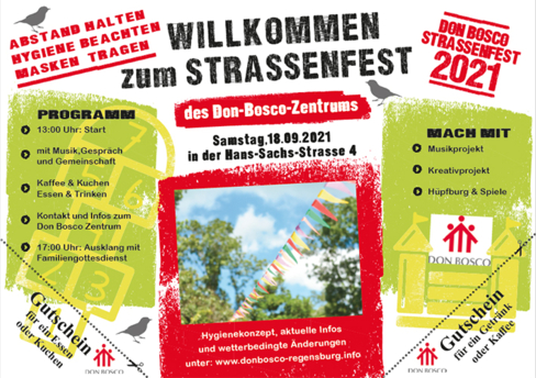Einladung zum Straßenfest im Don Bosco Zentrum Regensburg am 18.09.21